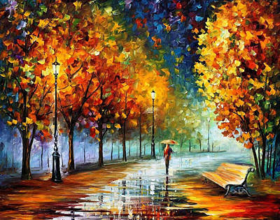 Fall Marathon - Palette Knife Oil Painting On Canvas By Leonid Afremov Original by Leonid Afremov