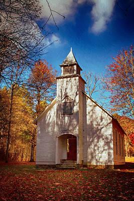 Painting - Fall Morning At Palmer Chapel In Cataloochee by John Haldane