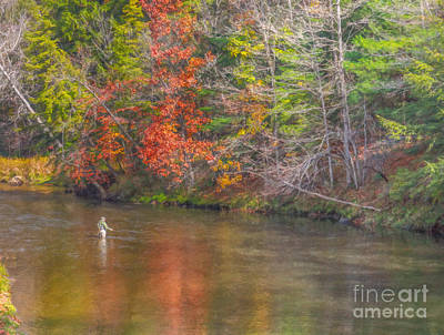 Fall Morning Fly Fishing Art Print by Randy Steele