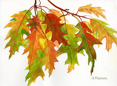 Rust Painting - Fall Oak Leaves by Sharon Freeman