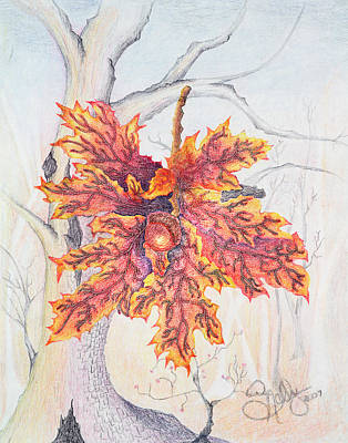 Colored Pencil Abstract Painting - Fall Oak Tree by Shelly Ziska