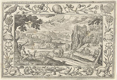 Fall Scenes Drawing - Fall Of Icarus, Adriaen Collaert by Adriaen Collaert And Claes Jansz. Visscher (ii) And Eduwart Van Hoeswinckel