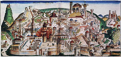 Medieval Temple Painting - Fall Of Jerusalem And The Destruction by Granger