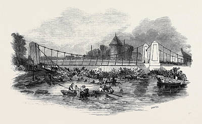 Suspension Drawing - Fall Of The Suspension Bridge, At New Yarmouth by English School