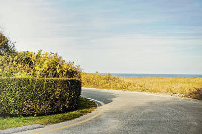 Photograph - Fall On Nantucket Cape Cod Ma Country Road With Ocean View by Marianne Campolongo