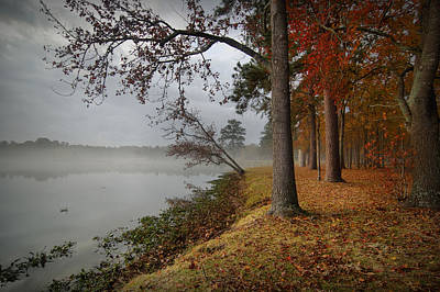 Autumn Scene Digital Art - Fall On The Lake by Linda Unger