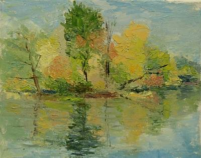 Painting - Fall On The Pond by Nicolas Bouteneff