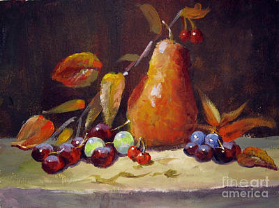 Art Print featuring the painting Fall Pear by Carol Hart