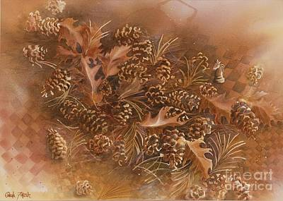 Painting - Fall Pinecones by Paula Marsh