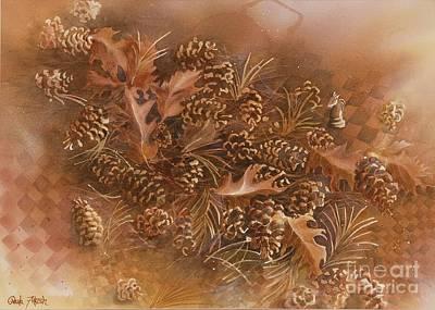 Checkerboard Floor Painting - Fall Pinecones by Paula Marsh