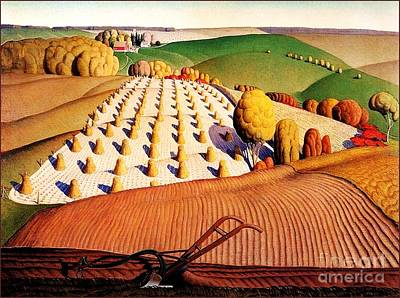Reproductions Mixed Media - Fall Plowing by Pg Reproductions