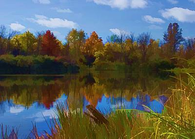 Photograph - Autumn Pond - Watercolor by Ron Grafe