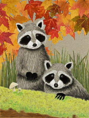 Raccoon Mixed Media - Fall Raccoons by Jeanette K