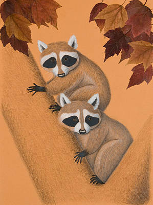 Raccoon Mixed Media - Fall Raccoons On Tree by Jeanette K