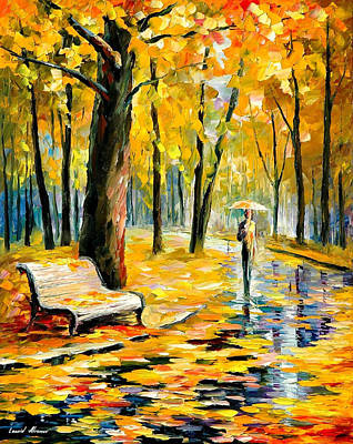 Fall Rain - Palette Knife Oil Painting On Canvas By Leonid Afremov Original by Leonid Afremov
