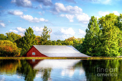 Photograph - Fall Red Barn Reflection by Peggy Franz