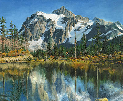 Art Print featuring the painting Fall Reflections - Cascade Mountains by Mary Ellen Anderson
