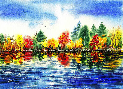 Fall Reflections Art Print by Irina Sztukowski