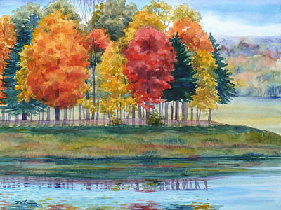 Painting - Fall Reflections by Janet Zeh
