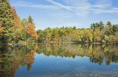Photograph - Fall Reflections On Torsey Pond Readfield Maine by Keith Webber Jr