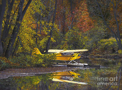 Piper Cub Painting - Fall Reflections by Pati O'Neal