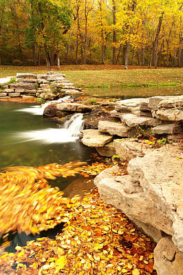 Typography Tees - Fall Serenity - Dogwood Canyon Nature Park Missouri by Gregory Ballos