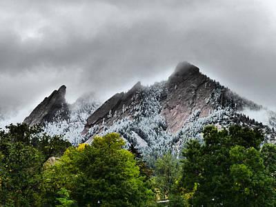 Photograph - Fall Snow Flatirons Boulder Co by Thomas Samida