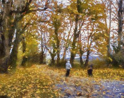 Loose Style Digital Art - Fall Stroll by Barry Jones