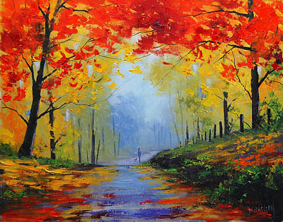 Birch Tree Painting - Fall Stroll by Graham Gercken