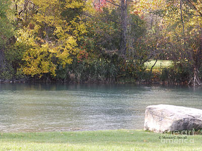 Photograph - Fall Trees Along Canal Shoreline - M Landscapes Fall Collection No. Lf14 by Monica C Stovall