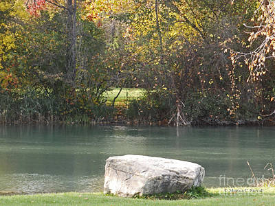 Photograph - Fall Trees At Canal Shoreline - M Landscapes Fall Collection No. Lf13 by Monica C Stovall