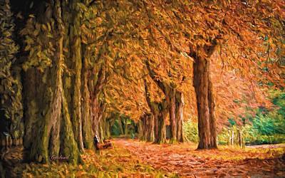 Impasto Mixed Media - Fall Trees by Garland Johnson