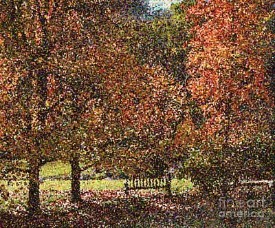 Pointillist Digital Art - Fall Trees by Nicholas Burningham
