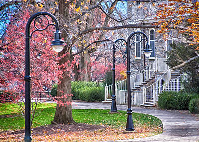 Penn State University Photograph - Fall Walk At Old Main II by Gregory Gill