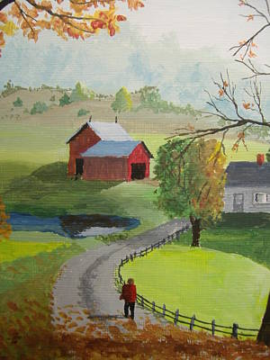 Art Print featuring the painting Fall Walk by Norm Starks