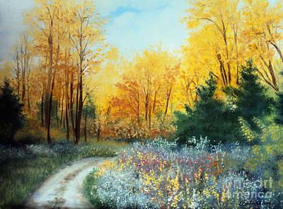 Maine Roads Painting - Fall Woods Road by Laura Tasheiko
