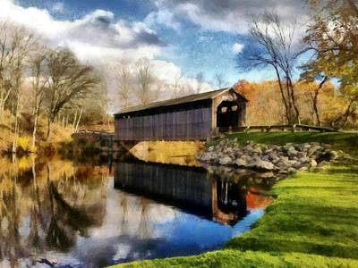 Photograph - Fallasburg Bridge In Fall by Michelle Calkins