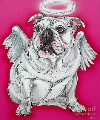 White Bulldog Painting - Fallen Angel by Erlinde Ufkes Stephanus