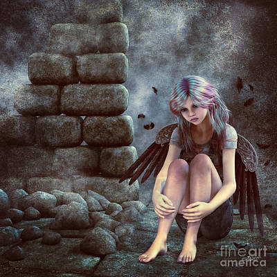 Digital Art - Fallen Angel by Jutta Maria Pusl
