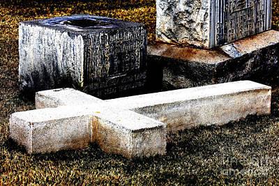 Headstones Mixed Media - Fallen Cross by Rachelle  Burrer