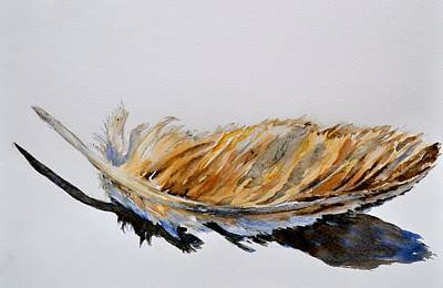 Found Object Painting - Fallen Feather by Beverley Harper Tinsley