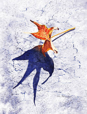 Maple Leaf Art Wall Art - Painting - Fallen Leaf King Size Shadow by Irina Sztukowski