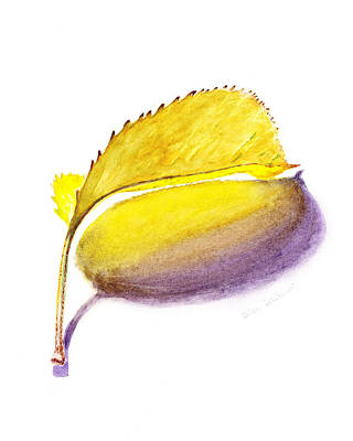 Bookmarks Wall Art - Painting - Fallen Leaf Yellow Shadows by Irina Sztukowski