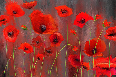 Poppies Art Painting - Fallen Memoirs- Red And Gray Art by Lourry Legarde