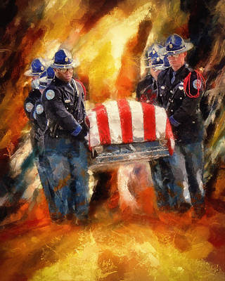 Cop Painting - Fallen Officer by Christopher Lane