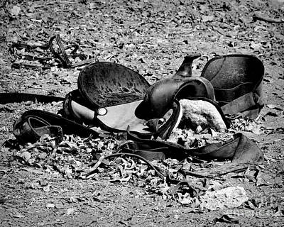 Equestrian Apparel Photograph - Fallen Saddle Black And White by TN Fairey