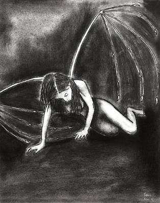 Succubus Drawing - Fallen by Sean Mitchell