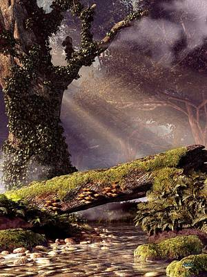 Fangorn Forest Digital Art - Fallen Tree Bridge by Daniel Eskridge