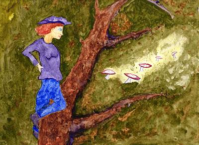 Painting - Fallen Tree New Mushrooms by Jim Taylor