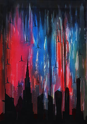 Dubai Skyline Painting - Falling Angels  by Art Tantra